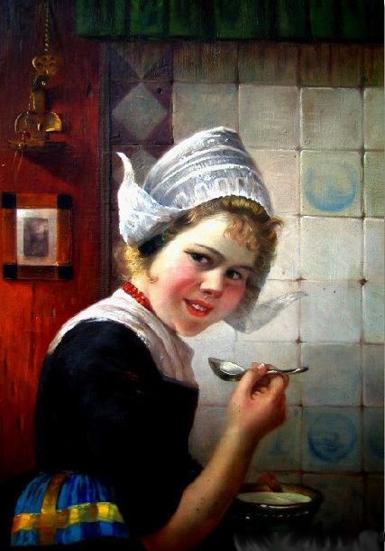 Edmond Louyot (1861 – 1920)  Dutch Girl in the Kitchen