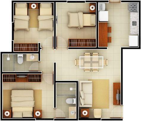 Planta baixa para Minha Casa Minha Vida 32 #plantasdeinteriorescasas - Plan De Maison En 3d