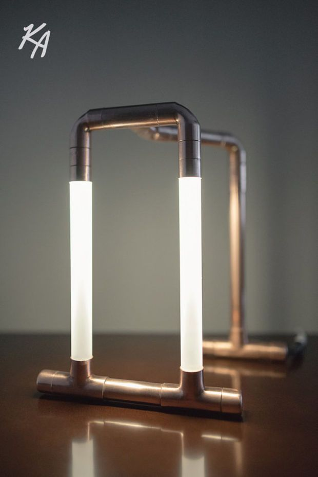 Copper led pipe lamp o the trois o copper pipe o desk lamp for Diy led floor lamp
