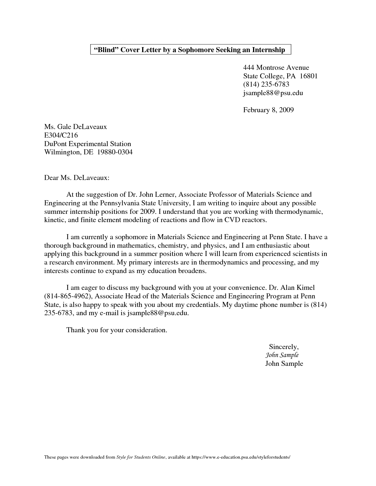 Example Of College Cover Letter For Internship