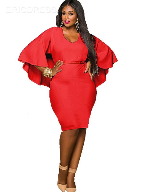 Plain Cape Bell Sleeve Plus Size Bodycon Dress Dress Me Up