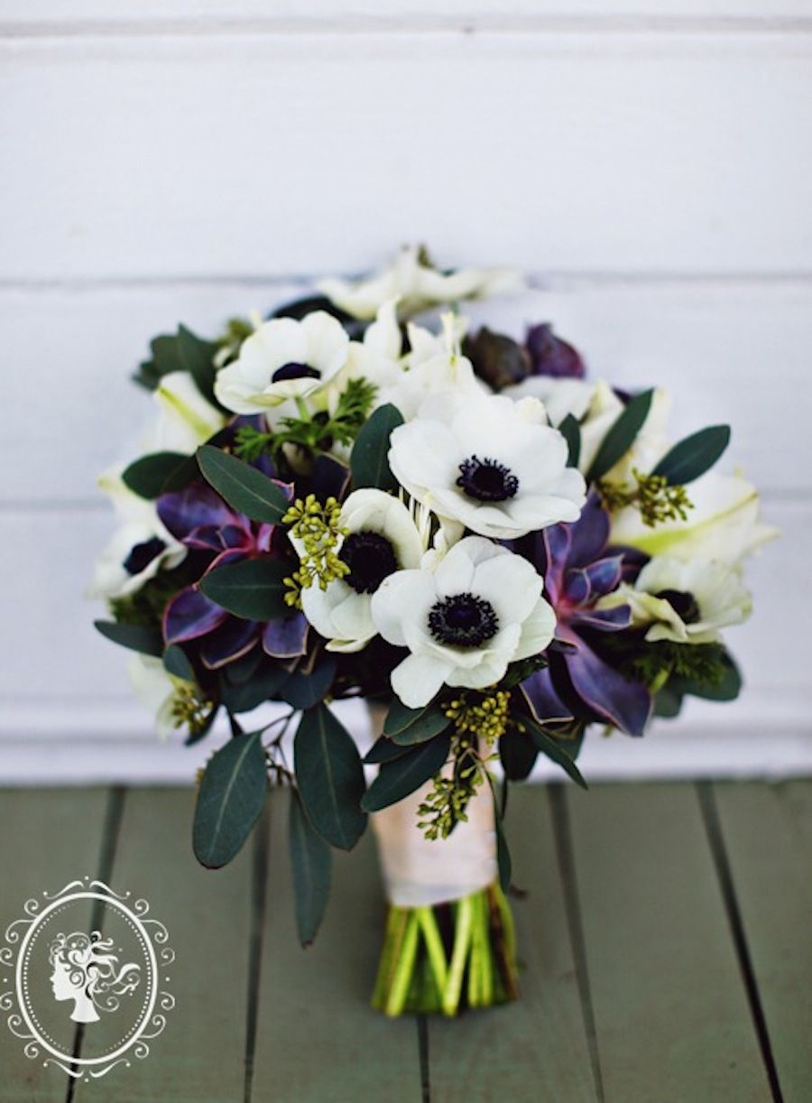 The Bridal Bouquet Will Be A Small Clutch Bouquet Of White Anemones White Hydrangeas Gray Purp Purple Bridal Bouquet Purple Wedding Bouquets Hydrangea Purple