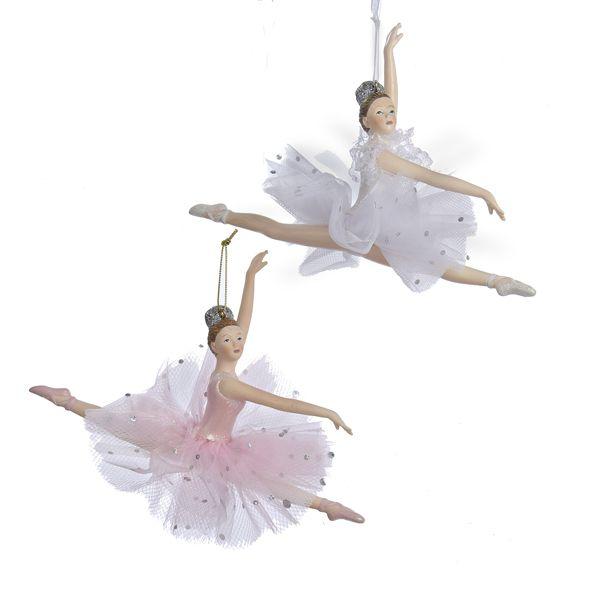 2 Assorted Kurt Adler Clear//Pink Ballerina Ornament