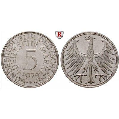 Bundesrepublik Deutschland, 5 DM 1967, F, vz+, J. 387 5