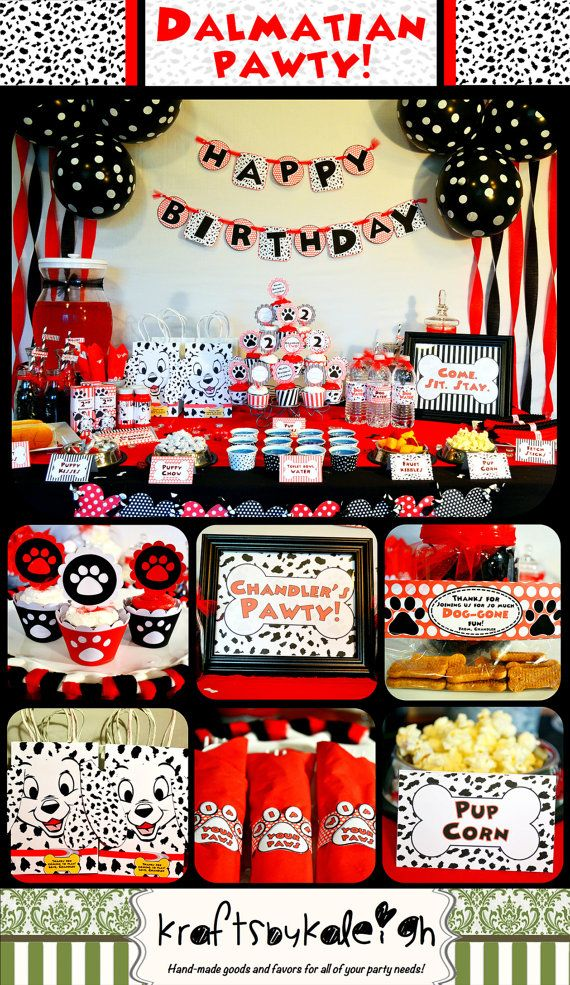 Personalized Printable Dalmatian Party Package By Kraftsbykaleigh 29 95 Fun Birthday Party 101 Dalmations Party Dalmatian Party