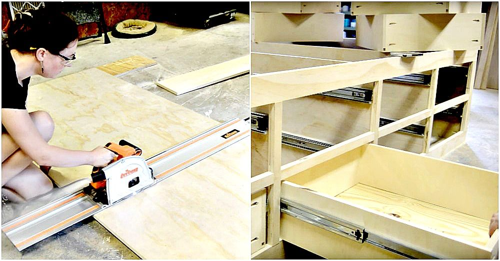 Queen bed frame with drawer storage | Wood working | Pinterest