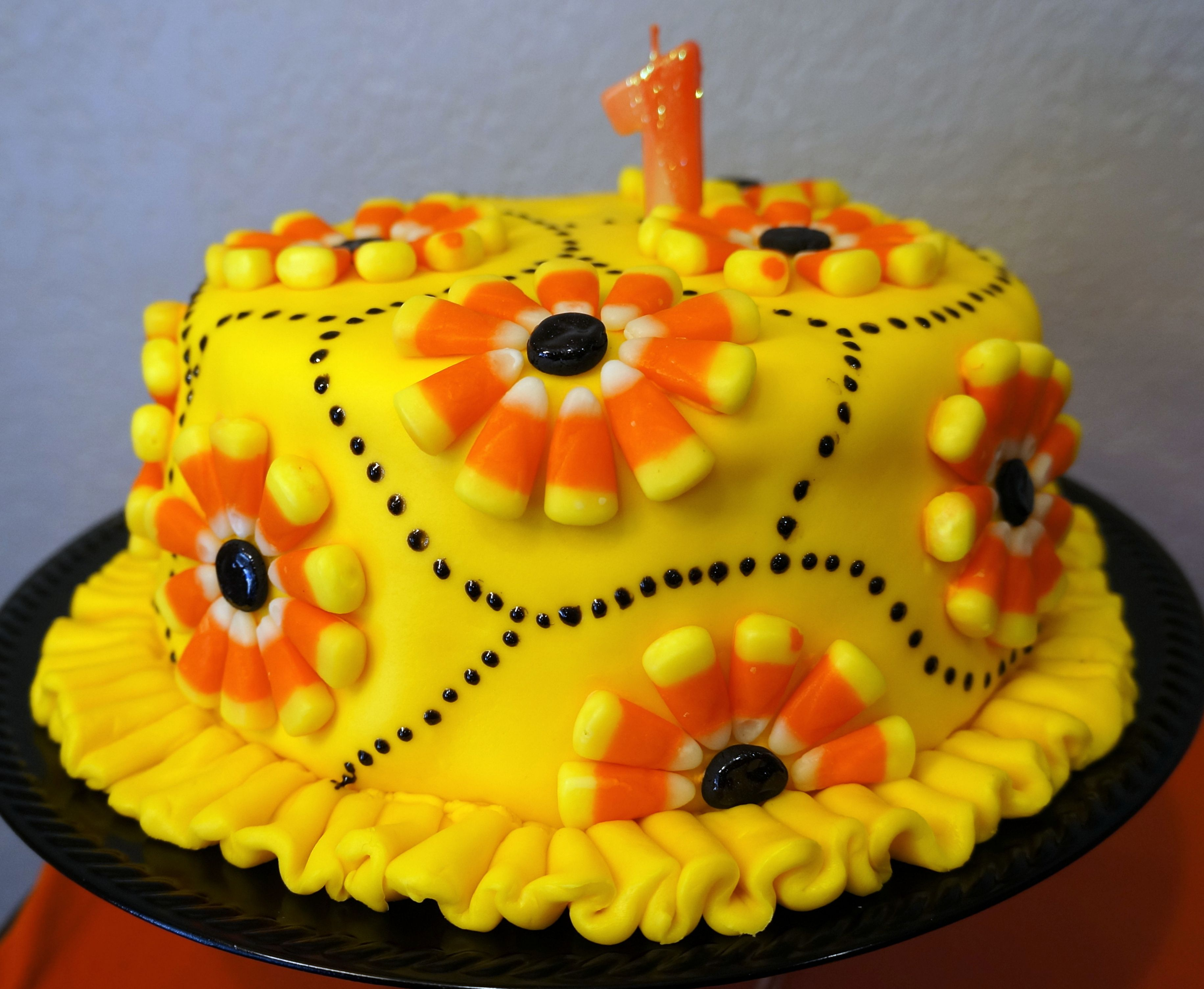 Candy Corn Birthday Cake For Autumns 1st Birthday Got The Idea From