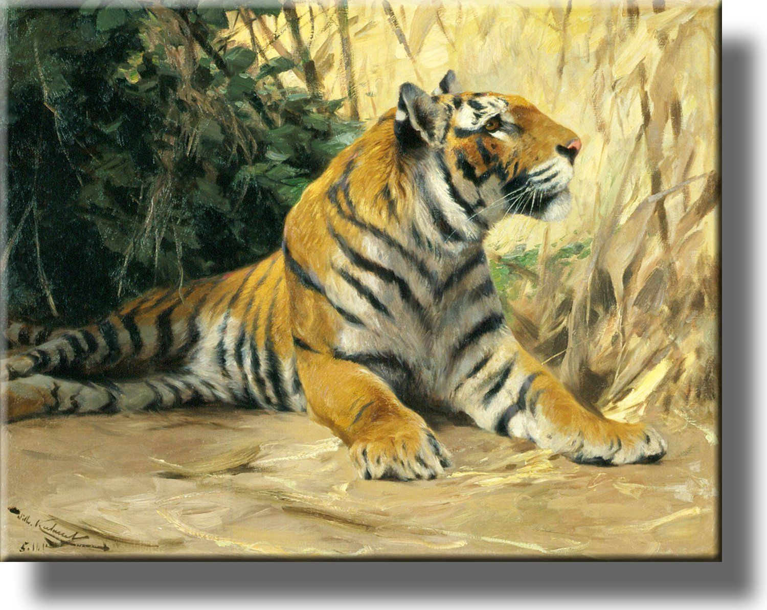 Resting Tiger Painting Picture On Acrylic Wall Art Decor Ready To Hang Tiger Painting Wildlife Art Big Cats Art