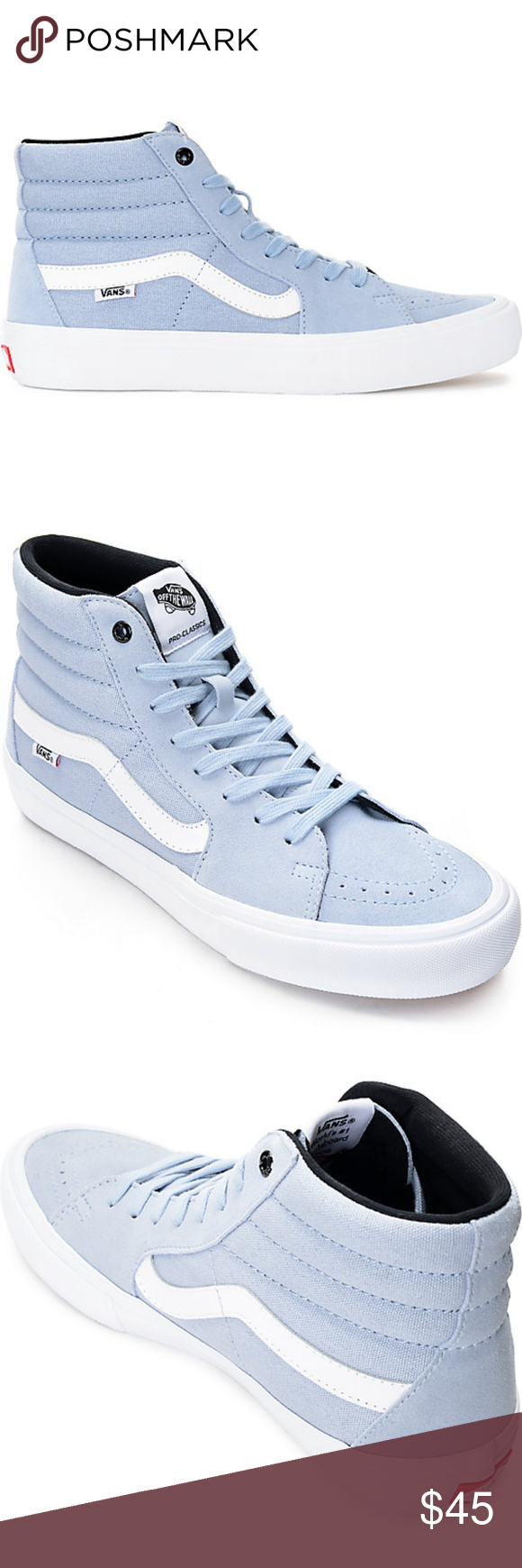 102724713bf501 Vans Sk8-Hi Pro Blue Fog Skate Shoes Men s Sz 10  New no box