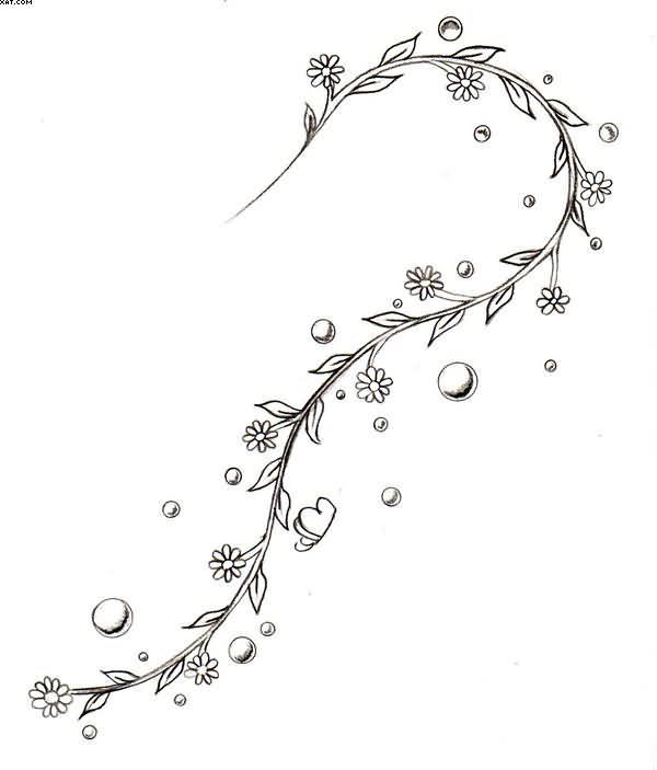 small flowers vine tattoo design for ankle | tattoos | tattoos, vine