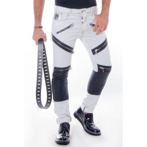 Dizleri Kapitoneli Cep Fermuarli Kot Pantolon Beyaz 518 Pantolon Kotlar Spor