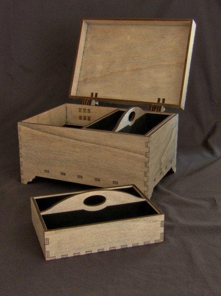 #lasercut jewellery box in 6mm poplar ply.
