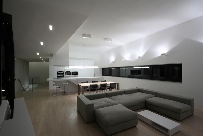 futuristic house design with black white living room