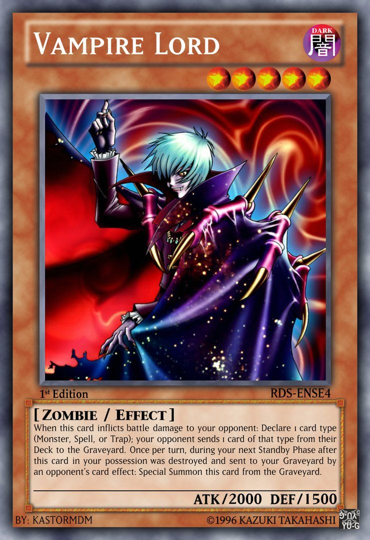 Vampire Lord By Kastormdm On Deviantart With Images Yugioh