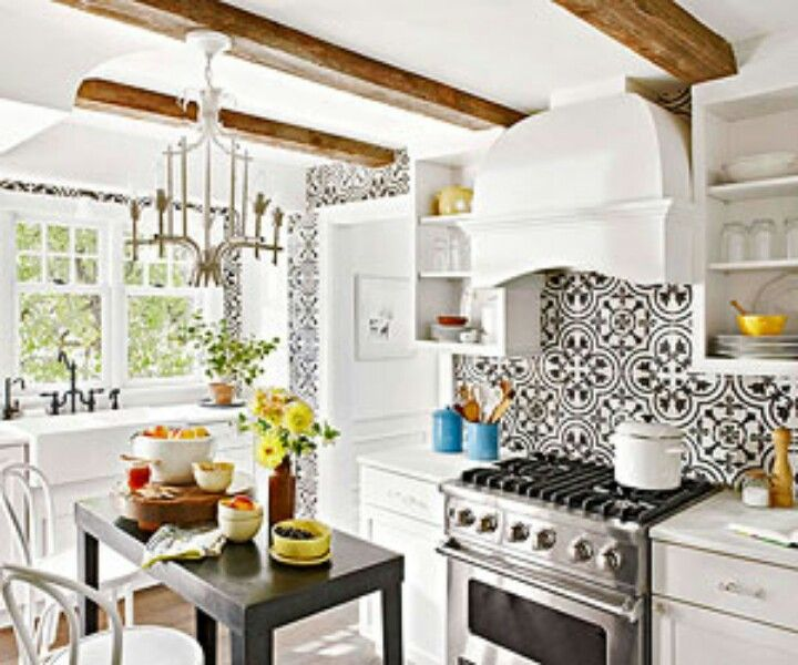 Kitchen With Cuban Style Tile House Project  Pinterest Beauteous Black And White Tile Designs For Kitchens Design Inspiration