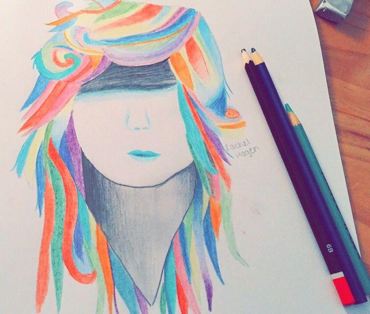 Drawn By Rachel Hagen Tumblr Drawings Colorful Hair Hair Drawings