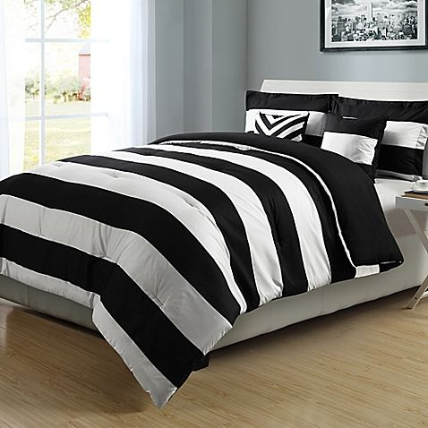 Make A Style Statement In Your Bedroom With The Graphic Stripe Comforter Set In Bold Black And White Gold Bedroom Black White And Gold Bedroom Comforter Sets
