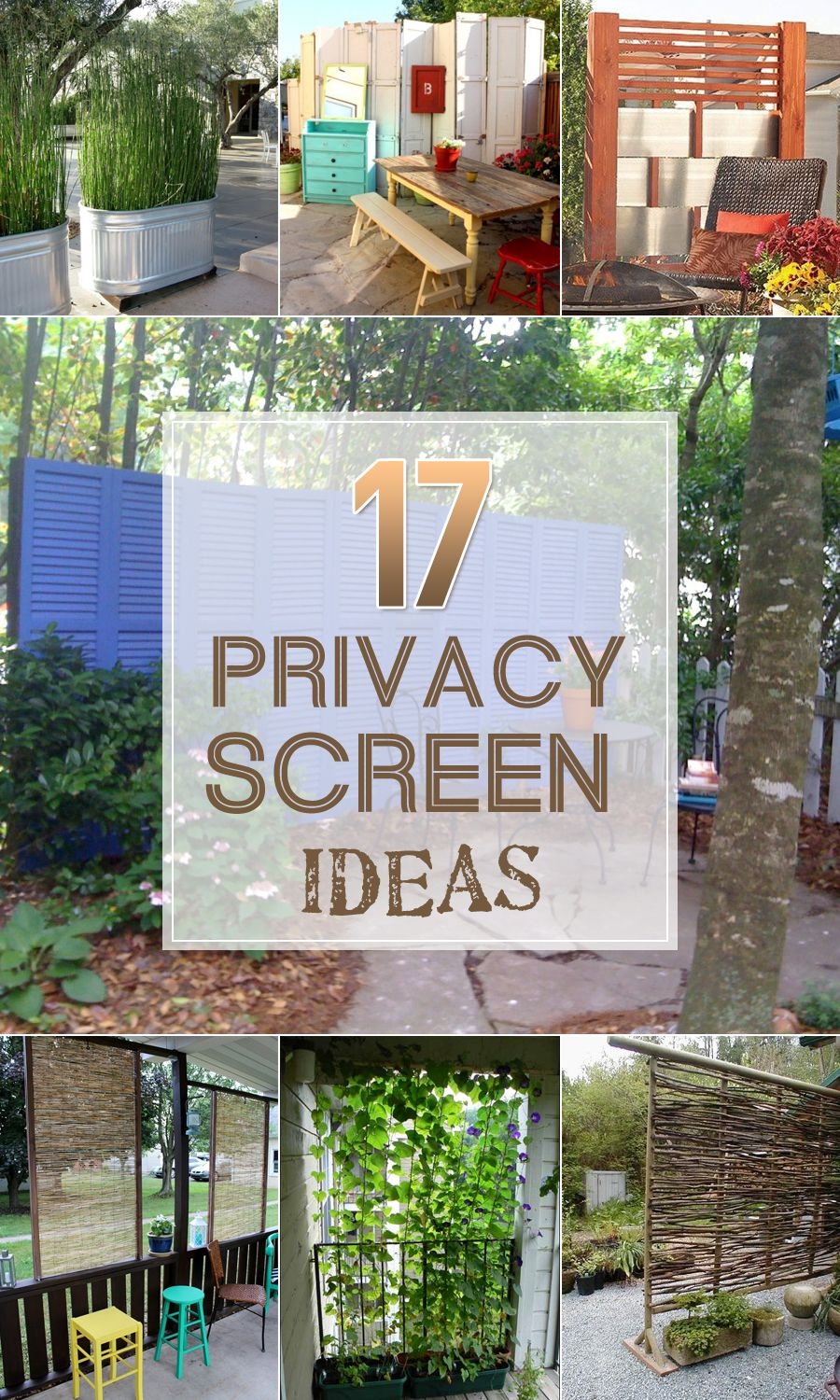 17 privacy screen ideas that 39 ll keep your neighbors from for Outdoor privacy fence screen