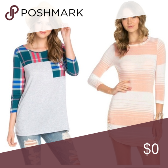 🛍JUST IN🛍 Plaid, quarter sleeve, pocket tee Grey, green, blue, white, and pink quarter sleeve tee with pocket. Made in the USA. 95% Polyester and 5% spandex. The Blossom Apparel Tops Tees - Long Sleeve