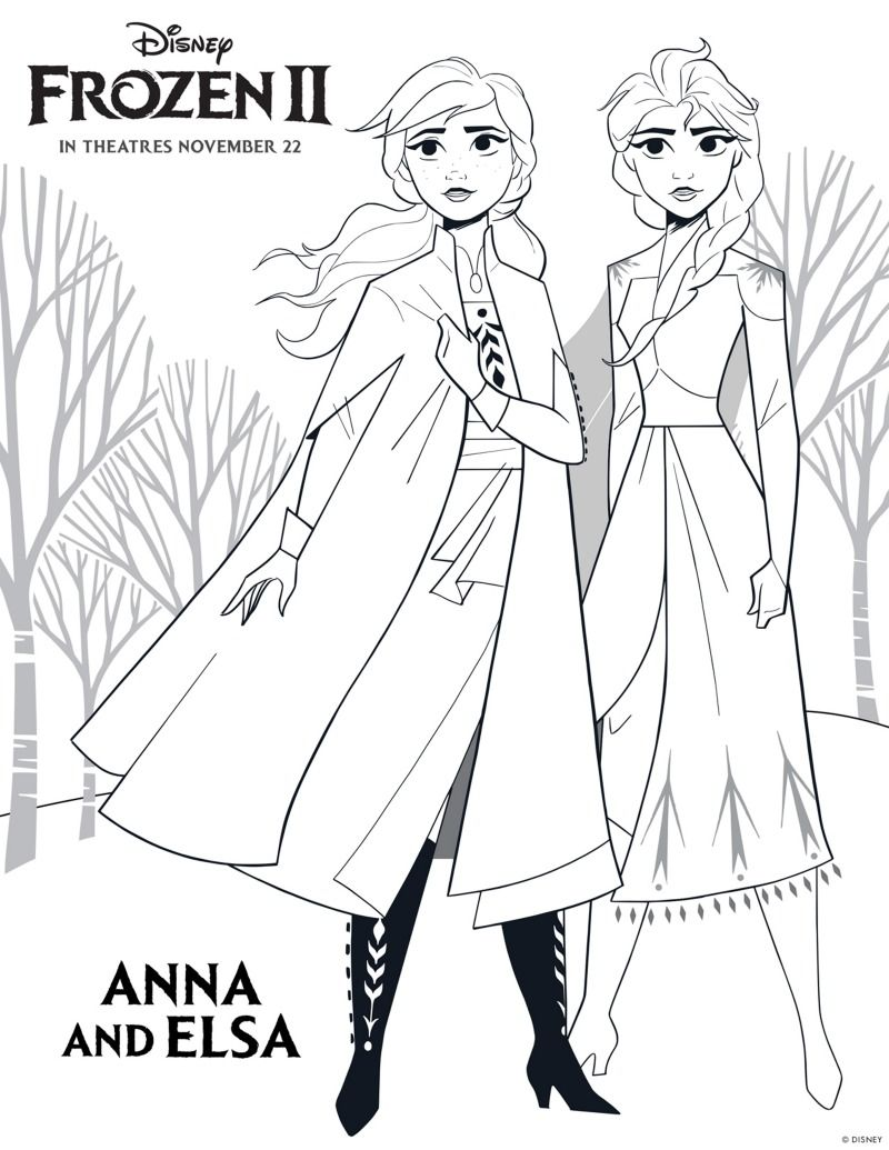 Frozen 2 Free Printable Anna And Elsa Coloring Page With Images