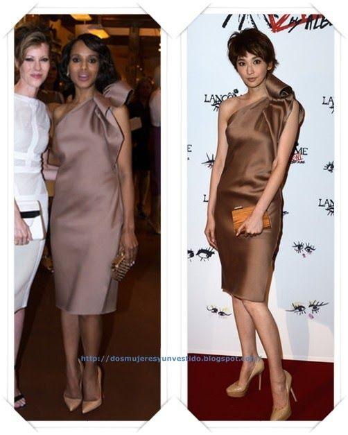 Un vestido de Lanvin lo han llevado Kerry Washington a un evento en su honor; y Pace Wu a una fiesta de Lancome.