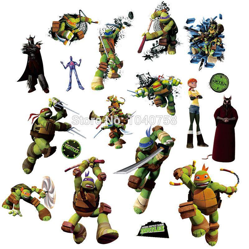 Teenage mutant ninja turtles leo miki wall stickers for kids room baby movie