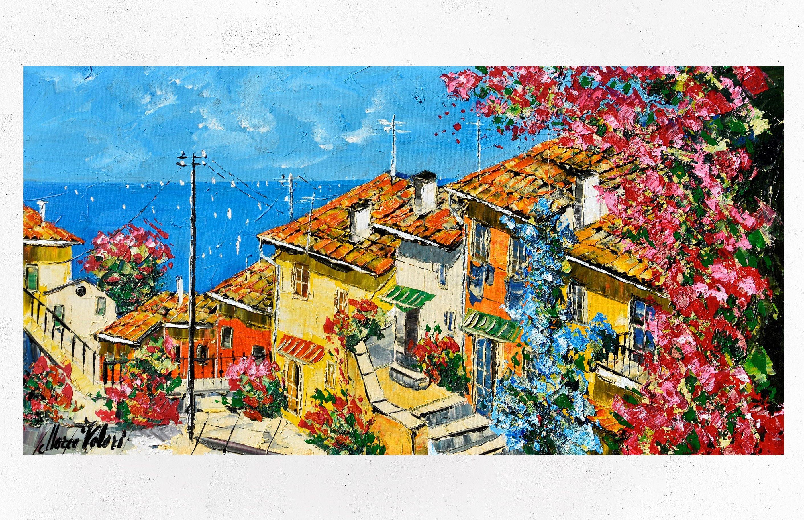 Paesaggio sul mare, arte della parete, pittura a olio ...