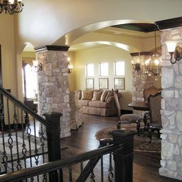 Stone Pillars Inside The House Rustic Remodel House