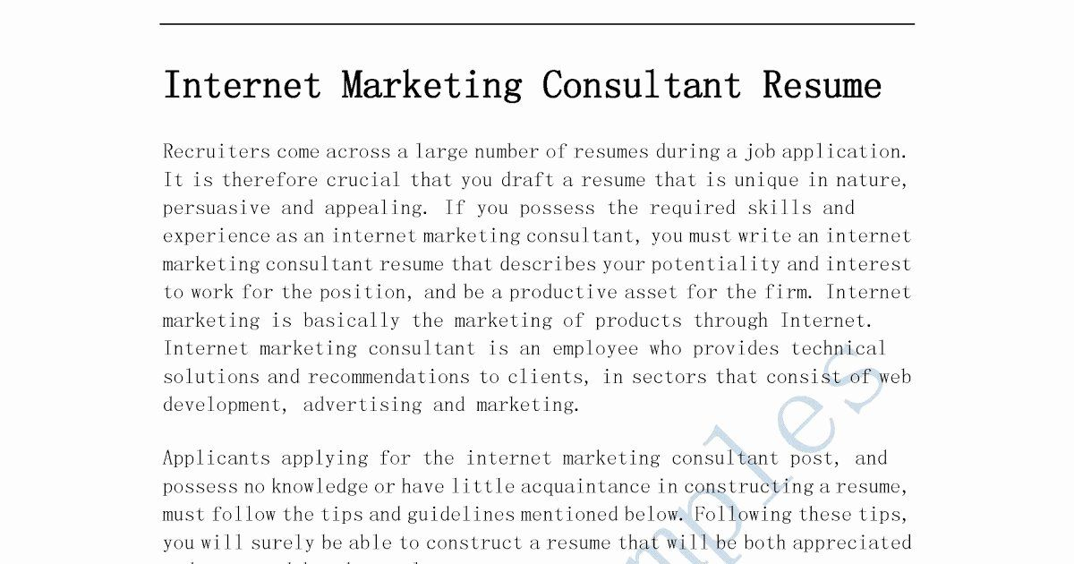 Independent Consultant Resume Example Inspirational Resume Samples Internet Marketing Consultant Resume Good Resume Examples Job Resume Examples Resume