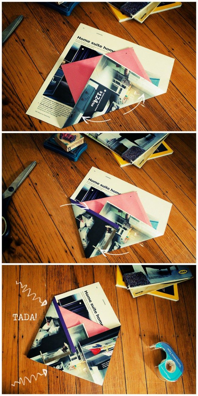 Easy folding method for DIY envelopes, using old magazine pages, then adding a white paper to the front.