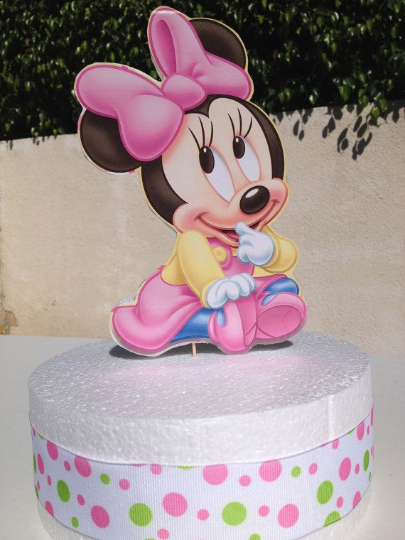 Baby Minnie Mouse Cake Topper For Baby Shower Or 1st Birthday Baby Minnie Mouse Cake Minnie Mouse Cake Topper Minnie Mouse Baby Shower