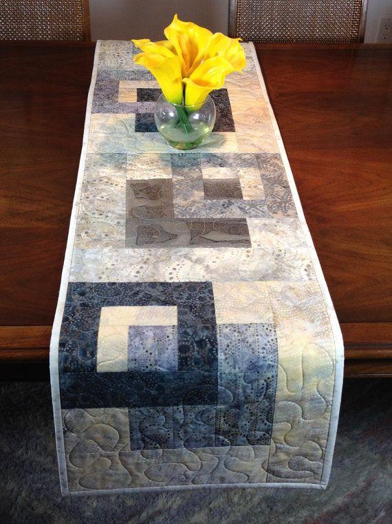 Modern Batik Table Runner Handmade Gray Quilted Tablerunner Grey Wallhanging Reversible Table