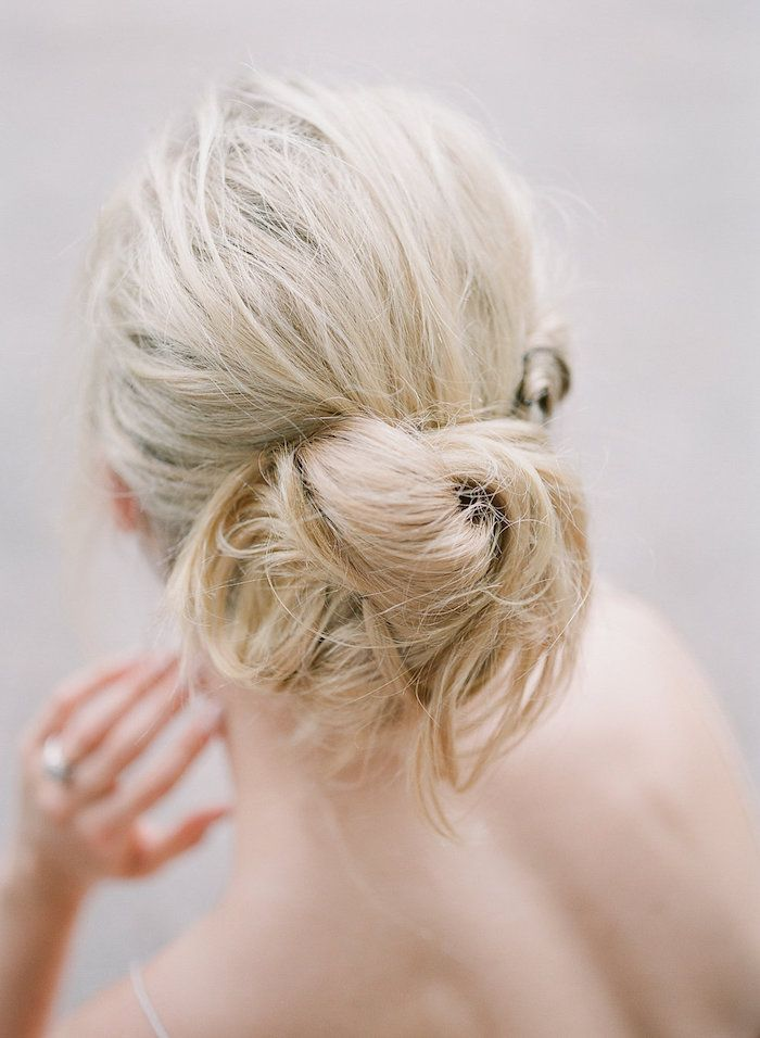 bridal hair idea, loose low bun.