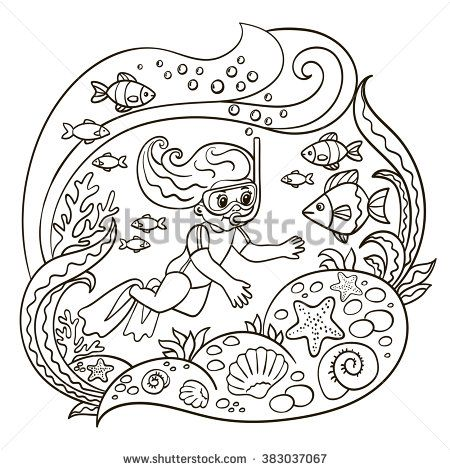 Coloring Book Pages Of Fish : Vector illustration coloring book page abstraction girl diving