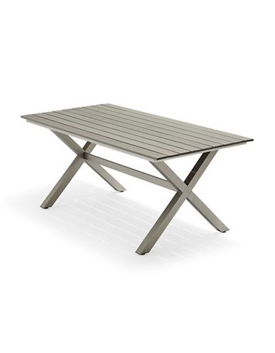 Brands Patio Brushed Aluminum X Feet Dining Table Hudson S Bay Wood Tablesdining Chairsoutdoor