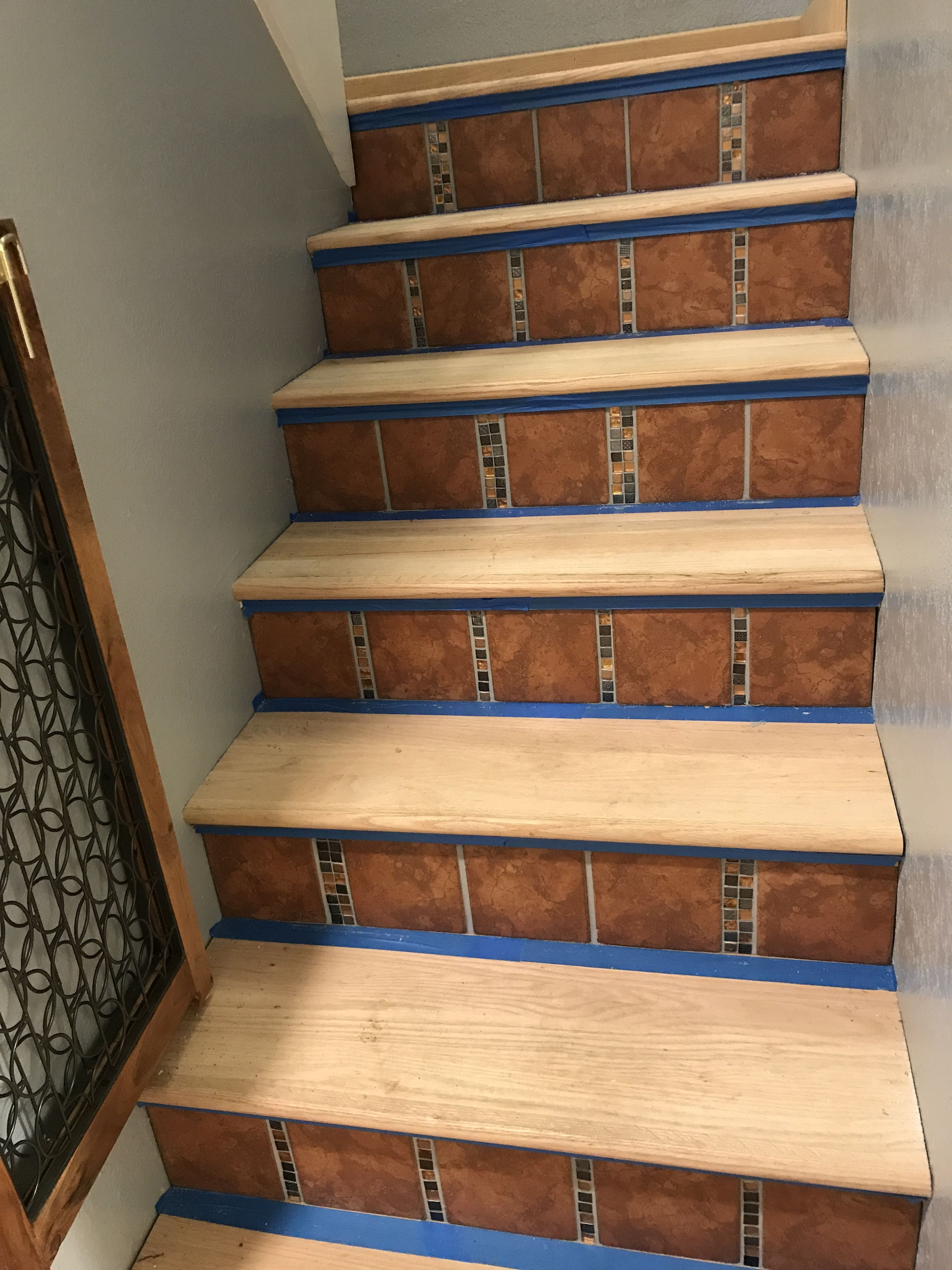 Riser Tiles Had To Be Set Before Stair Treads Could Be Installed. Stair  Treads Have