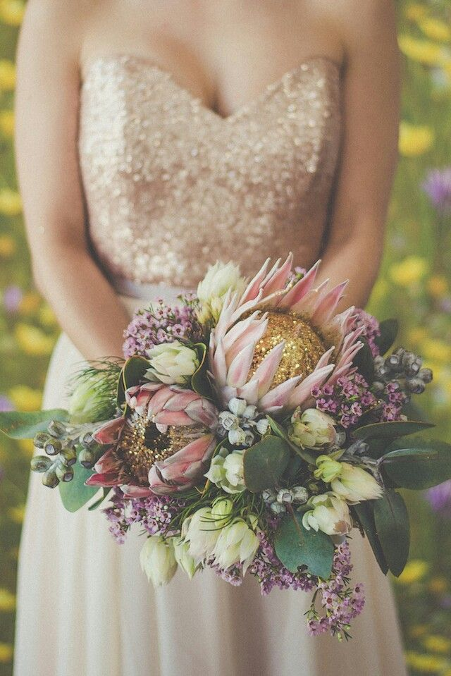 Unique Bridal Flowers Composed Of Light Pink King Protea With Gold ...