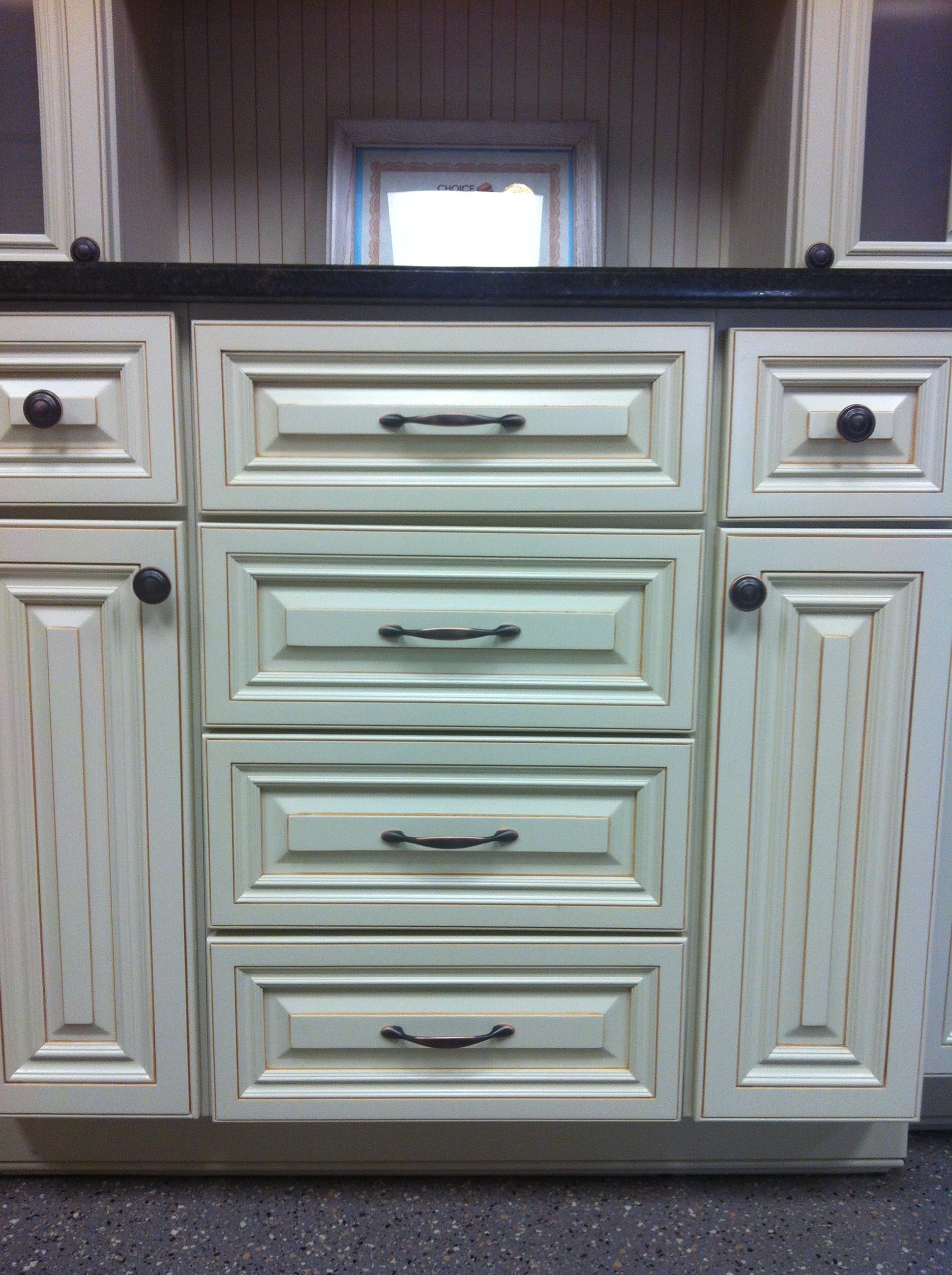 Cream color maple glazed cabinets -love how clean these look ...