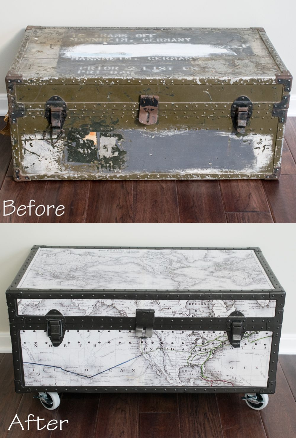 Paint furniture for a trash to treasure upcycle military footlocker