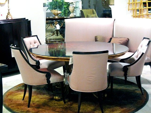 A Lovely Pink / Wood Formal Dining Room Table & Chairs at ...