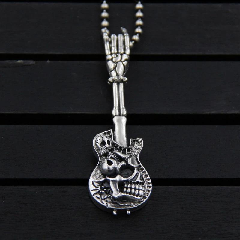 s925 sterling silver skull pattern vintage guitar pendant necklace #vintageguitars
