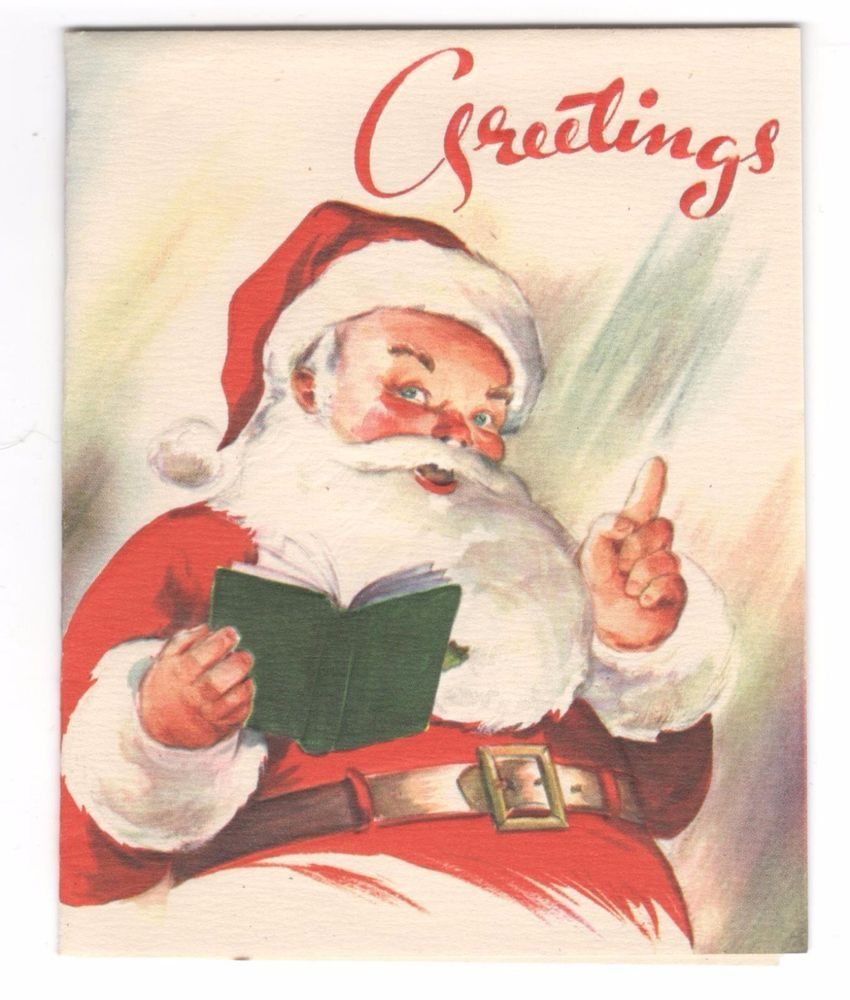 Vintage Artistic Christmas Greeting Card Greetings From Santa ...