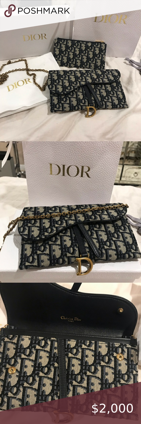 Christian Dior Saddle Long Wallet On Chain Bag Christian Dior Bags Dior Chain Bags