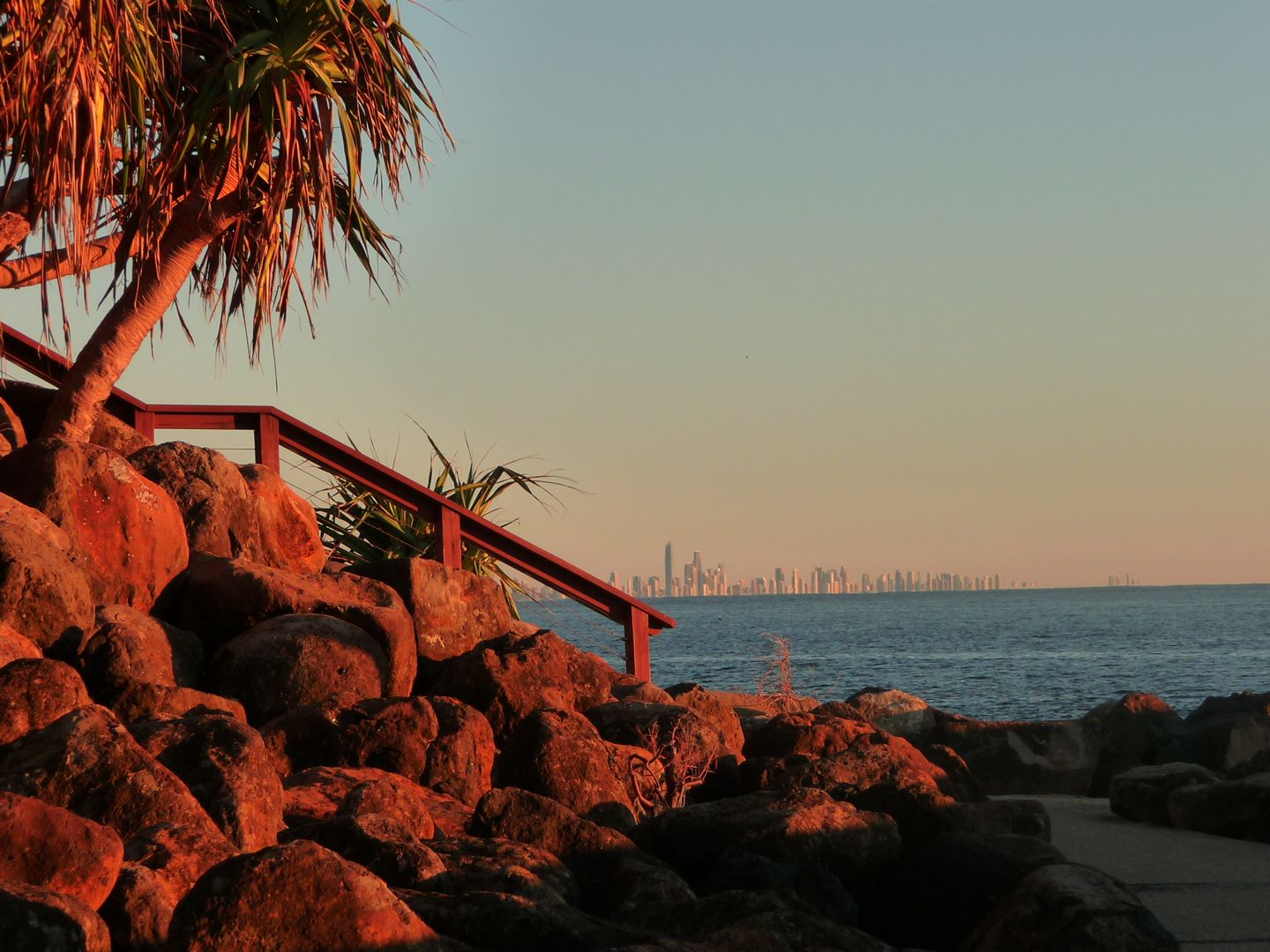 Snapper Rocks With Skyline Of Gold Coast In Background Qld
