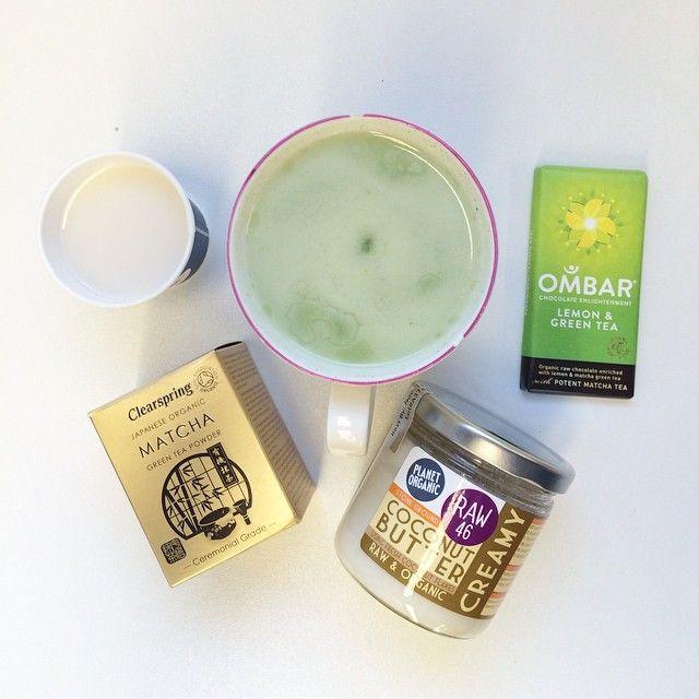 Mmmmm Coconut Almond Matcha Latte. Ingredients: Half Cup