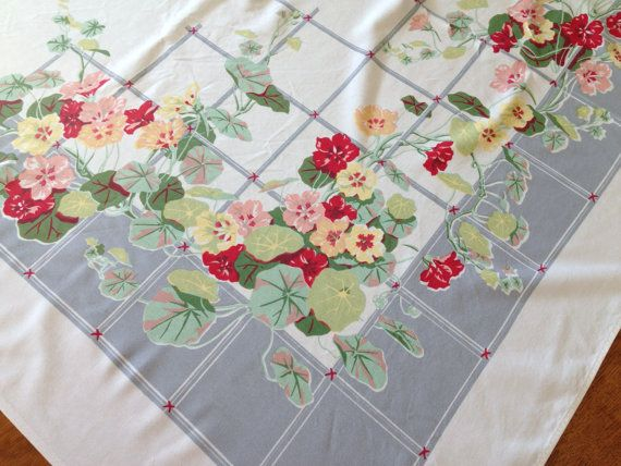 Vintage Printed Tablecloth, Gray Red White Nasturtium  Flowers, 1950's Mid Century Kitchen