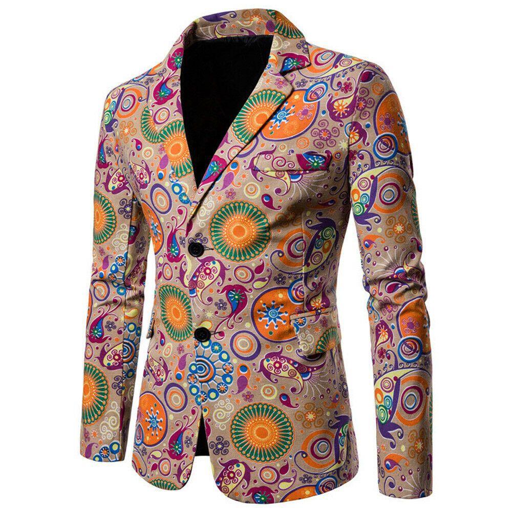 Mens Black Gold Floral Brocade Print Fitted Blazer Italian Designer Suit Jacket