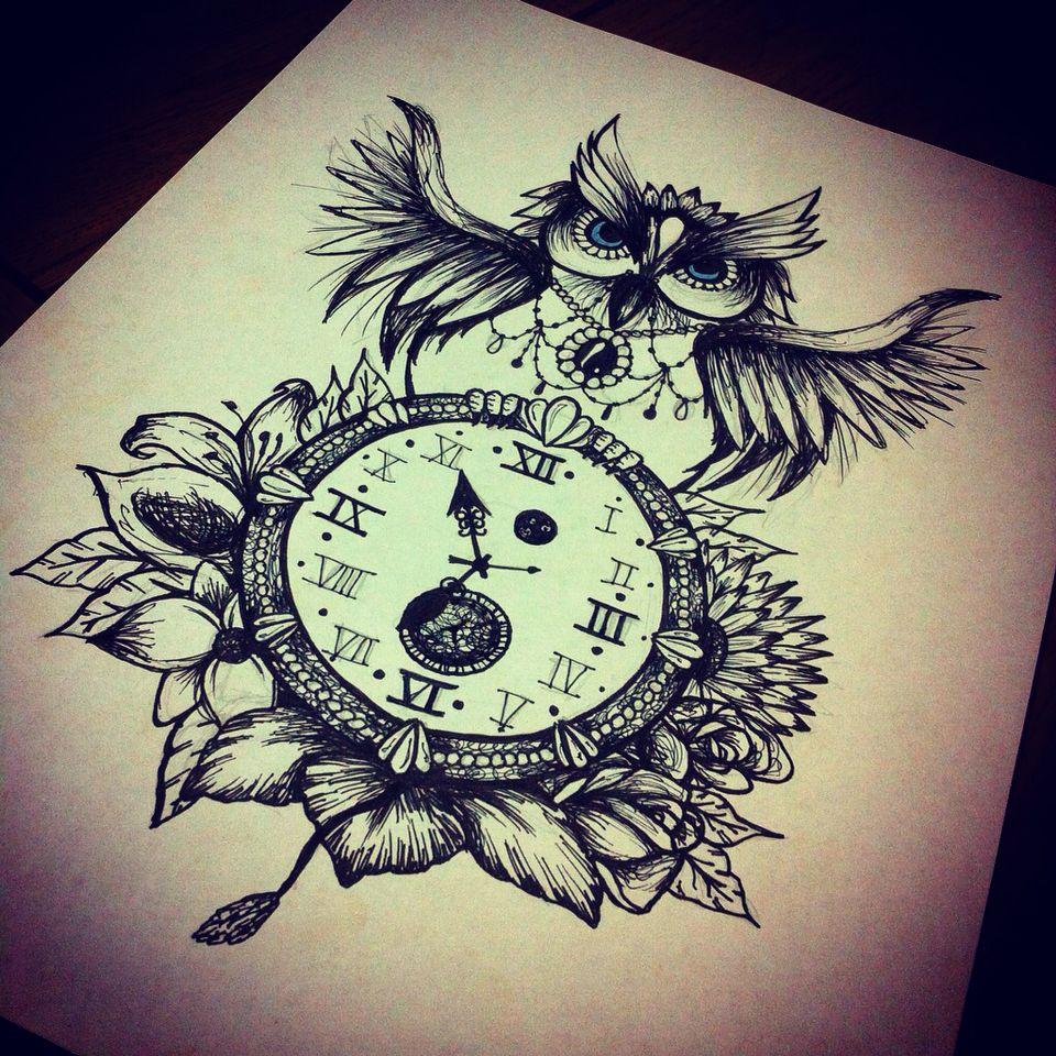 Owl clock flowers design tattoo art   Opposites attract   Pinterest ...