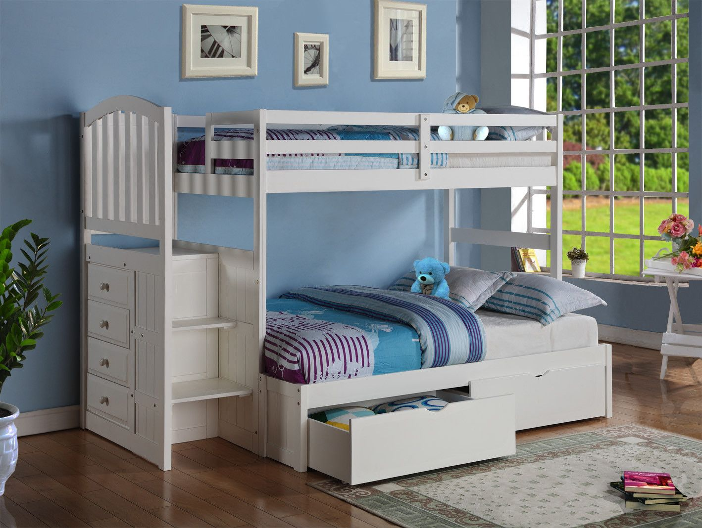 Loft bed bedroom  Donco Kids Twin over Full Bunk Bed with Trundle  Products