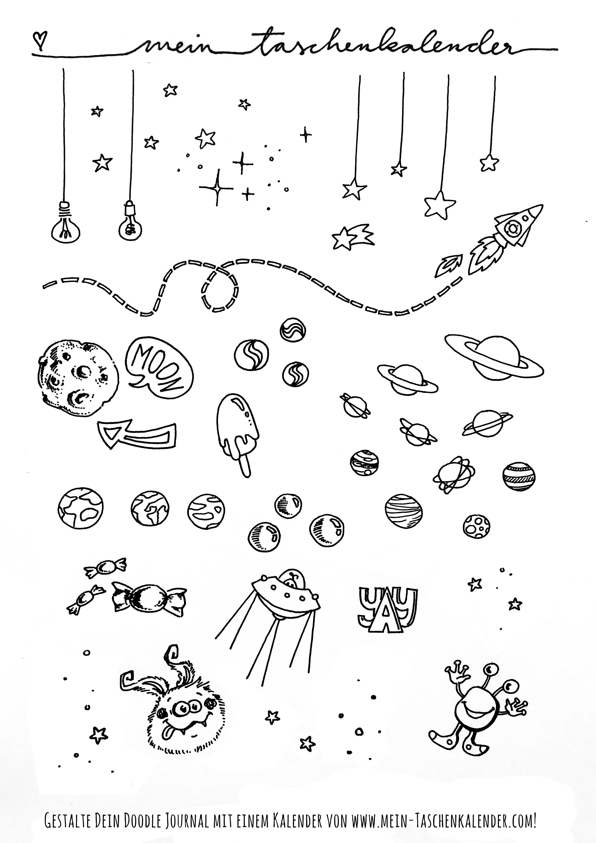 doodle malvorlage space weltraum  pete the cat